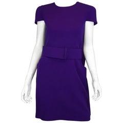 Alexander McQueen Purple Cape Back Wide Belt Dress