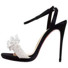 Christian Louboutin Black Crystal Queen 120 Evening Sandals Sz 36.5 NEW