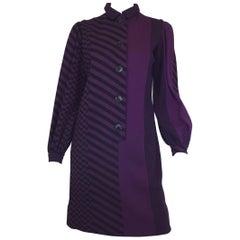 Rudi Gernreich 70's Vintage Wool Knit Multi-pattern Dress