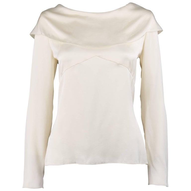 CHANEL A/W 2001 Off White Wide Bertha Collar Long Sleeve Silk Top NWT