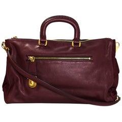 Prada Burgundy Tessuto & Saffiano Satchel Bag