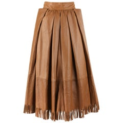 GUCCI c.1970's Tan Brown Leather Fringe Hem Pleated Tea Length Skirt