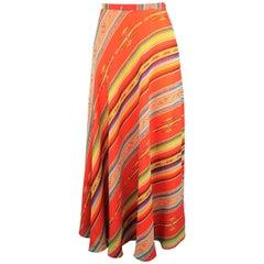 Ralph Lauren Red Orange Mexican Serape Print Silk A Line Maxi Skirt, Size 6