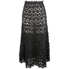 Donna Karan Black Silk Floral Crochet Mesh A Line Maxi Skirt Size 6