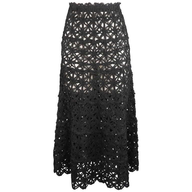 Donna Karan Black Silk Floral Crochet Mesh A Line Maxi Skirt Size 6  For Sale