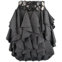 Yigal Azrouel Charcoal Ruffled Wool Jeweled Waistband Skirt, Size L