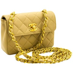 CHANEL Mini Small Chain Shoulder Bag Crossbody Beige Quilted Flap
