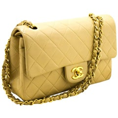 "Chanel 2.55 Double Flap 9"" Beige Gold Chain Lambskin Shoulder Bag"