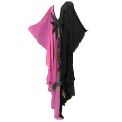 Black and Pink Silk Chiffon Deco Style Kaftan With Exotic Beaded Centerpiece