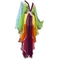 Eclectic Rainbow Theme Sheer & Net Kaftan W/ Decoratively Embroidered Obi Sash