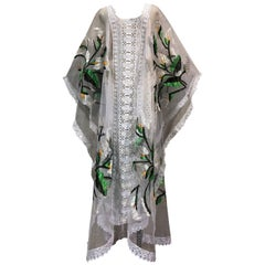 Hand Embroidered White Net Kaftan W/ Machine Lace Panels & Eyelet Fringe Details