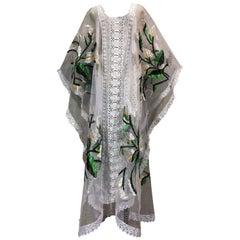 Hand Embroidered White Net Kaftan W/ Machine Lace Panels & Eyelet Fringe Details