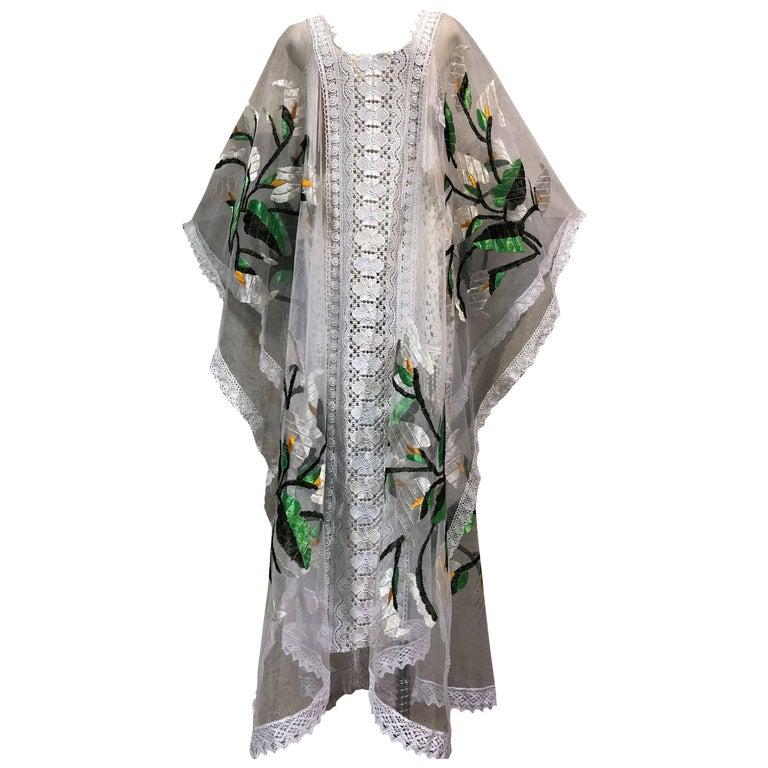 Hand Embroidered White Net Kaftan W/ Machine Lace Panels & Eyelet Fringe Details For Sale