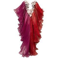 Origami Style Fan Pleated Jumpsuit W/ Silk Floss & Silver Metallic Flower Trim