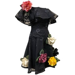 1980s Scaasi Black Tulle Cocktail Dress W/ Off-Shoulders & Silk Appliqué Roses