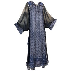 Bohemian Blue India Printed Woven Cotton & Net Kaftan W/ Lace-Up Ribbon Ties