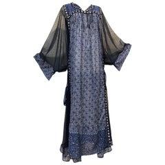 Bohemian Blue India Printed Woven Cotton & Net Kaftan W/ Lace-Up Ribbon Ties