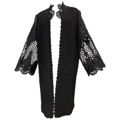 1960s Wool Ribbon Knit Coat W/ Black Satin Machine Lace & Eyelet Flared Sleeves