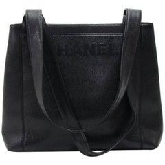 Chanel Vintage Embroidered Black Caviar Leather Shoulder Tote Bag