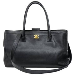 Chanel Cerf Black Caviar Leather Tote Bag
