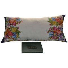 Gucci Vintage Scarf Pillow Light Blue Flowers
