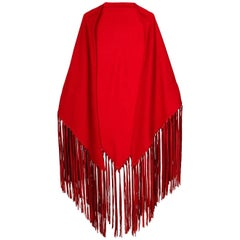 Hermès Red Fringed Vintage Shawl, 2000s