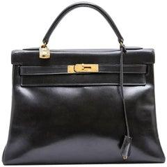 HERMES Vintage 'Kelly 32' Bag in Black Box Leather