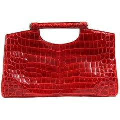 Colombo Bordeaux Crocodile Leather Vintage Bag, 2000s