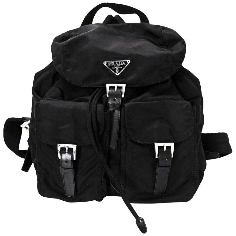 0955e2045b44f2 Prada Black Tessuto Backpack Bag with DB For Sale at 1stdibs