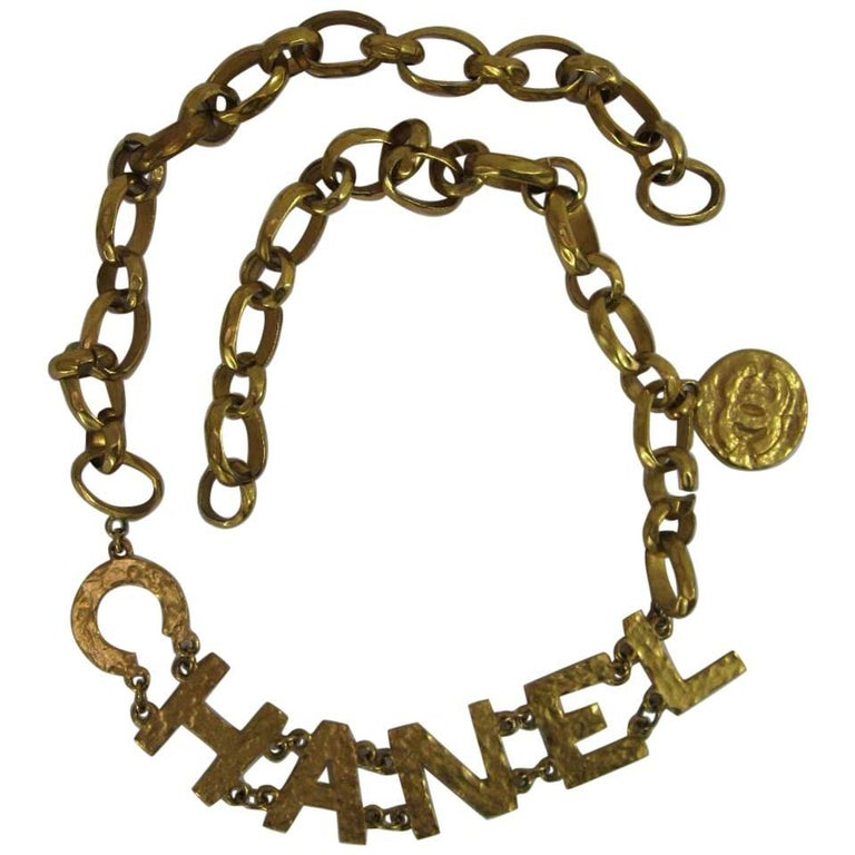 Rare 1993 Chanel Hammered Gold Tone Big Letter Logo Chain Belt