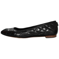 Chanel Black Quilted Leather Flats Sz 37 with Box