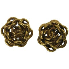 Vintage Chanel Interlocking CC Chain Earrings