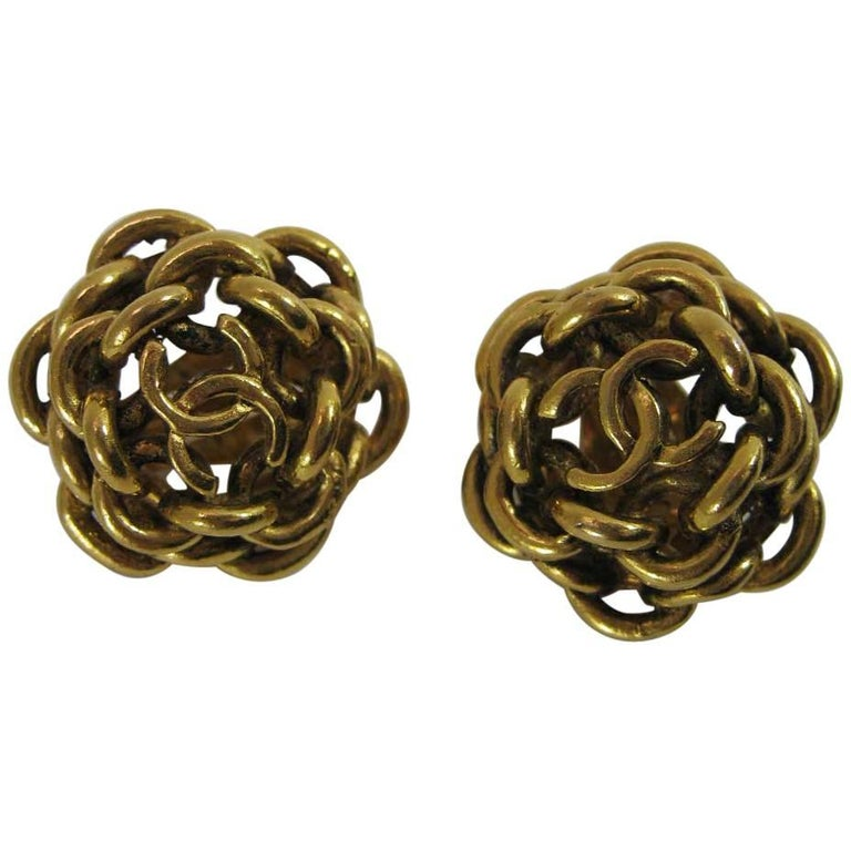 Vintage Chanel Interlocking CC Chain Earrings  For Sale