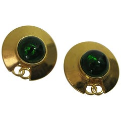 Vintage Chanel CC Saucer Earrings w Green Glass