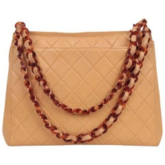 CHANEL Vintage Beige Quilted Leather LUCITE Chain TOTE
