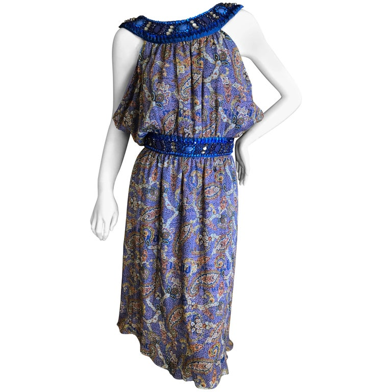 John Galliano Exquisite Jewel Embellished Silk Paisley Dress NWT