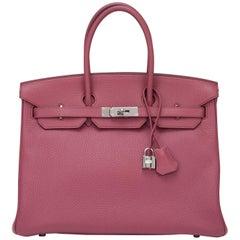 Hermes Bois de Rose Clemence Palladium Hardware Birkin 35cm Bag