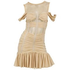 Dolce & Gabbana Nude Cocktail Dress with Exposed Boning, Size IT 38