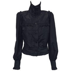 Coquette Chanel Black Silk Taffeta Ruffled Long  Sleeve Jacket