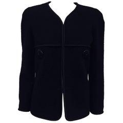 Chanel Black Wool Blend Satin Trimmed Jacket