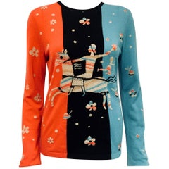 Cute Chanel Multi Colored Cashmere Cupid & Man on Horse Sweater