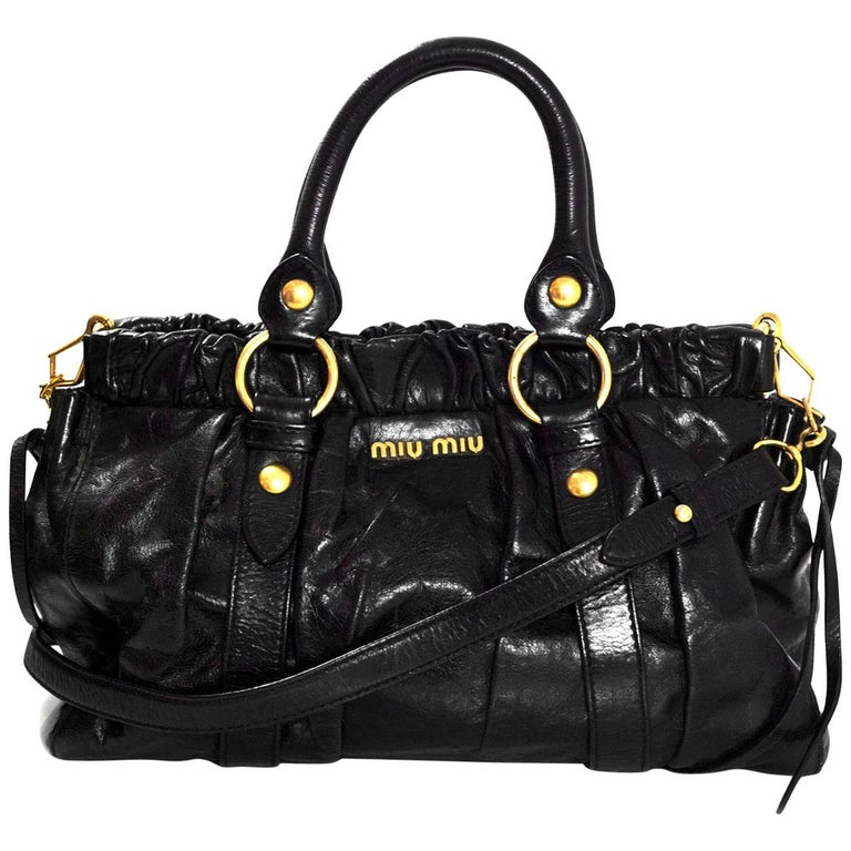 Miu Miu Black Ruched Leather Satchel Bag with DB