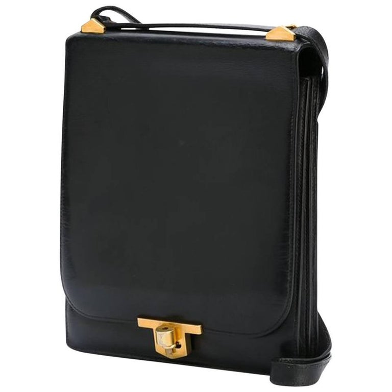 1970s Black Box Calf Leather Hermes Chantilly Shoulder Bag
