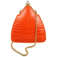 Judith Lieber Handbag Orange Alligator Leather Aurora Borealis Gold Chain Mini