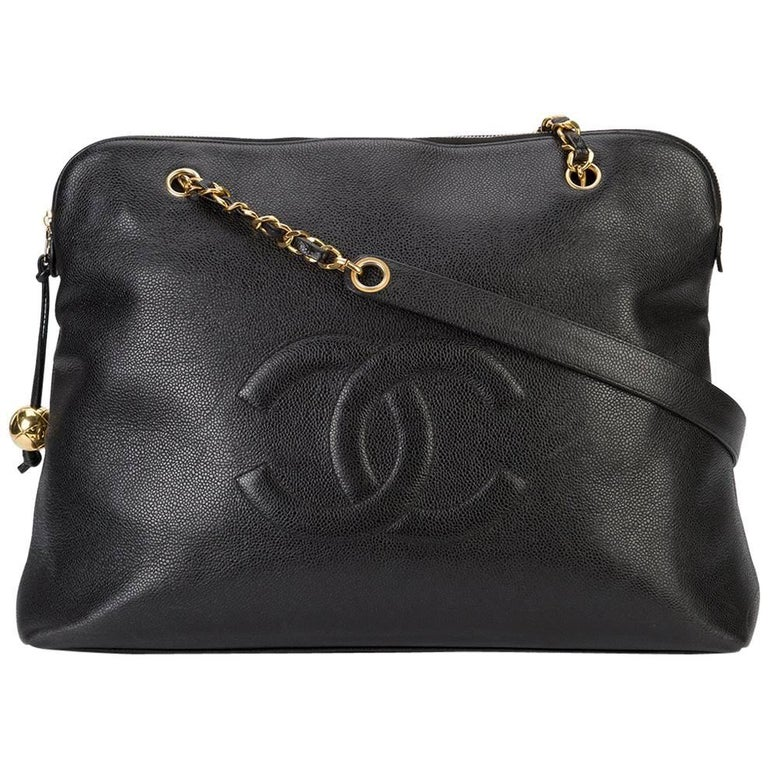 Chanel Black Caviar Leather Carryall Shopper Weekender Travel Shoulder Bag