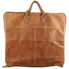 Mulholland Tan Leather Rectangular Travel Garment Bag