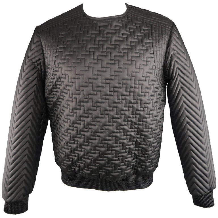 Calvin Klein Collection Men's Size L Black Quilted Fall 2013 Crewneck Pullover