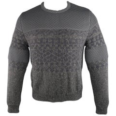 Calvin Klein Collection Men's S Dark Gray Alpaca Knit and Mesh Crewneck Sweater