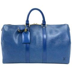 Louis Vuitton Vintage Keepall 45 Blue Epi Leather Duffle Travel Bag