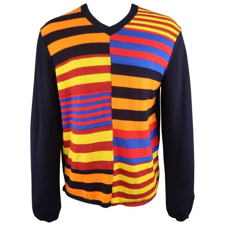 Men's JIL SANDER Size M Black Cream Green & Blue Color Block Cashmere Sweater